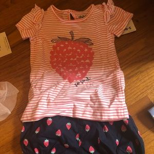 baby girls strawberry tshirt and short set